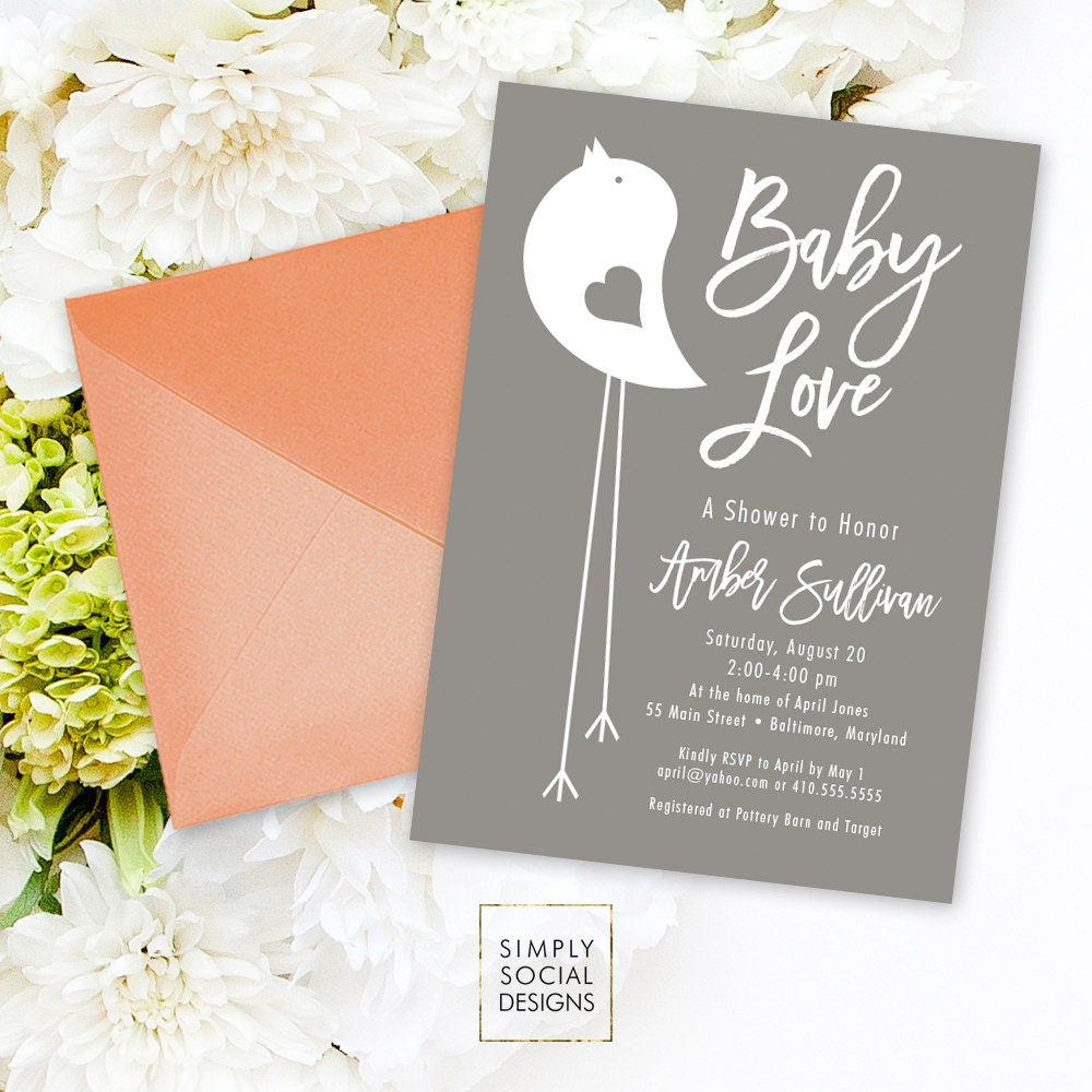 Grey Bird Shower Invitation - Grey and White Little Bird Baby Shower ...