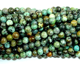 African Turquoise Beads, Round, 4mm (4.5mm), 15 Inch, Approx 88-95 beads, Hole 0.8 mm, A quality (110054001)