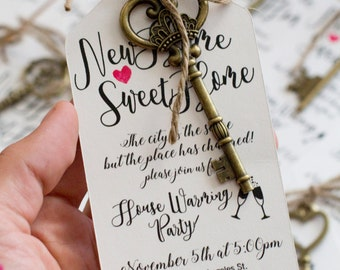 Key invitations etsy house warming invitations keys gift cute invitation stopboris Choice Image