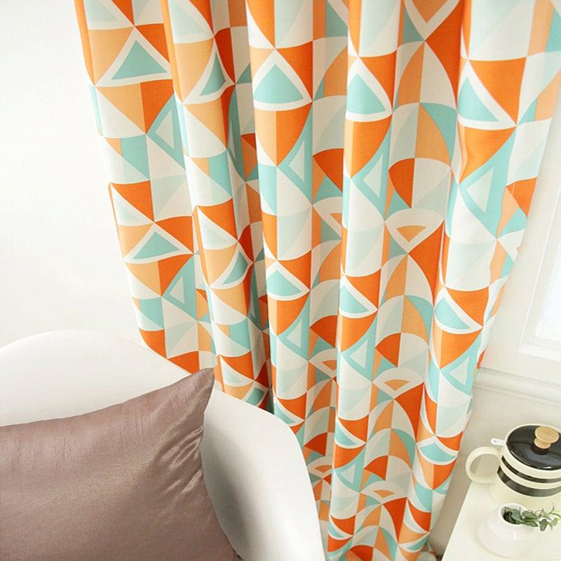 Geometric Patterned Orange-Mint Blackout Curtain
