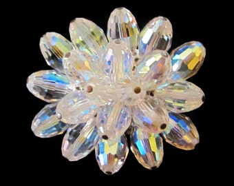 Gorgeous Vintage Faceted AB Crystal Brooch Sparkle & Shine!