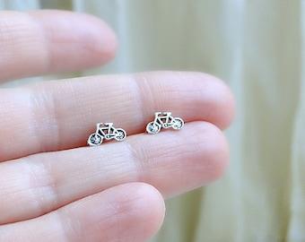Bicycle Stud Earrings, Sterling Silver Earrings, Cyclist earrings, Fun Jewelry, silver studs, modern jewelry, 925 Silver bike