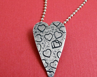 Heart Necklace -Sterling Silver, Elongated, Stamped Heart Necklace