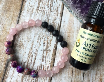 20% OFF Jasper and Rose Quartz Essential Oil Diffuser Bracelet