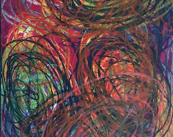 Terrible Garden of Light - Artist with Autism - Oil Pastel on watercolor paper