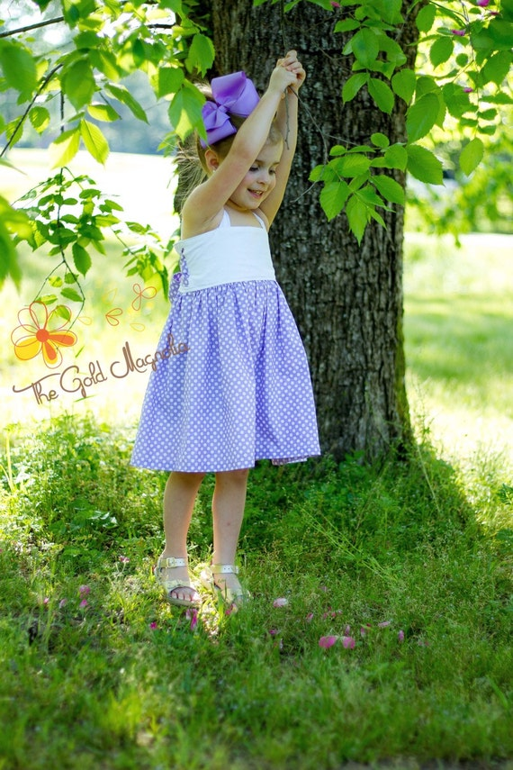 Girls Lavender and Eyelet Summer Dress Lavender Polka Dot Big Bow Dress - White Eyelet Dress - Lavender Dress - Easter Dress