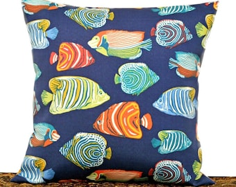 Fishes Outdoor Pillow Cover Cushion Tropical Blue Yellow Orange Lime Green Beach Decor Decorative 18x18