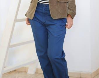 Vintage 70s pants Women's trousers Royal blue pants Straight leg 70s trousers Deep blue pants Tom boy pants Office trousers Boyfriend pants