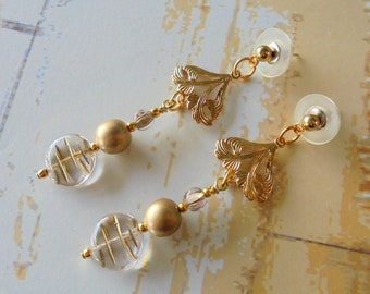 Gold and Crystal Earrings (4323)