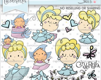 Cinderella Clipart, Princess Clipart, Princess Graphics, Handrawn Girl, COMMERCIAL USE, Handrawn Clipart, Hand Drawn, Sketch, Clip Art