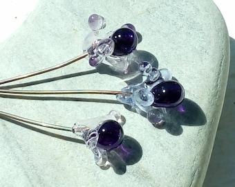 3 little starry flowers - glass Lampwork