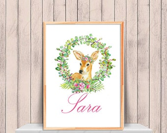 Personalized Name printable, Watercolor crown of leaves and bambi,, Personalized nursery art,Custom nursery art, Poster art, Download