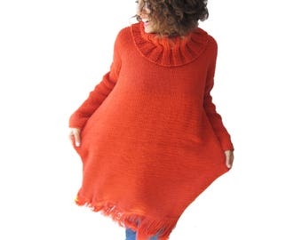 Orange Fringed Turtelneck Sweater Dress - Plus Size Sweater - Ovesized Sweater
