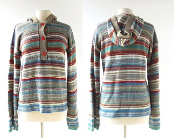 70s Striped Sweater | Hooded Sweater | 1970s Sweater | Large L
