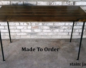 Desk, Computer desk, reclaimed wood, Small desk, Writing desk, Table, Steel legs, Made to order