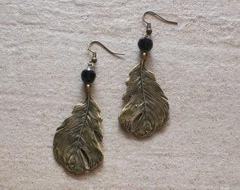 Leaf pendant earrings, bohemain style