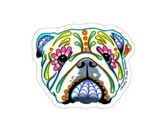 English Bulldog Sticker - Clear Vinyl Decal - Day of the Dead Sugar Skull Dog
