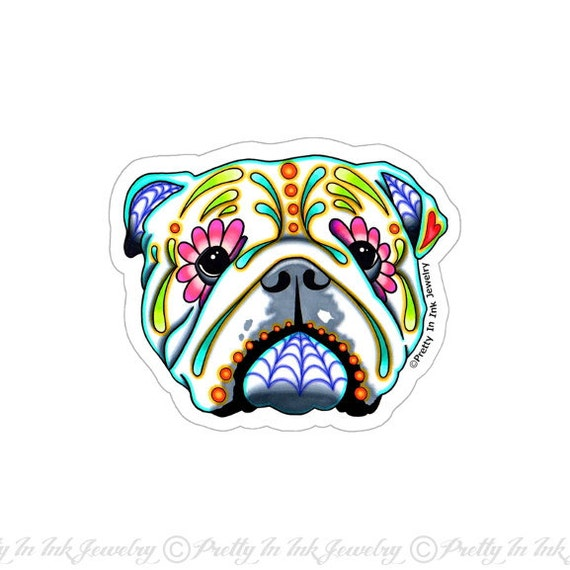 English bulldog sticker clear vinyl decal day of the dead sugar skull dog from prettyininkjewelry on etsy studio