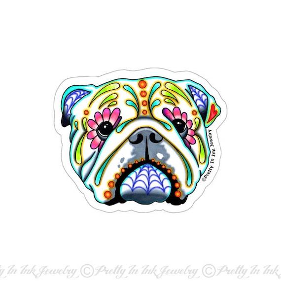 English bulldog sticker clear vinyl decal day of the dead sugar skull dog from prettyininkjewelry on etsy studio