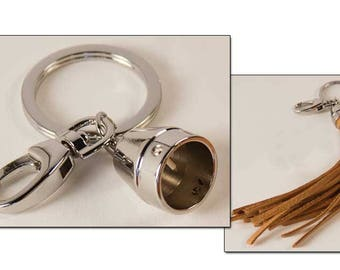 Keyring with tassel cap to make your own leather fringe accessory