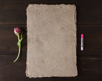 Homemade paper, paper with petals, flower paper, bookbinding, writing paper, decorative paper, deckle edge, single sheet (code#15)