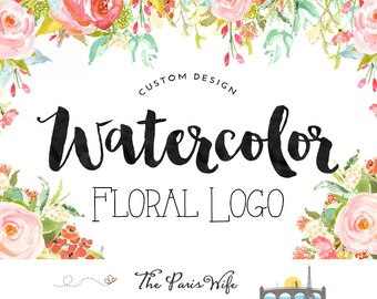 custom logo design watercolor flower logo website logo photography logo wedding logo wordpress website logo blog logo etsy shop logo design