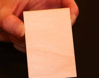 Unfinished Wood Rectangle - 3 inches by 2 inches and 1/8 inch thick wooden shape (RTDQ06)