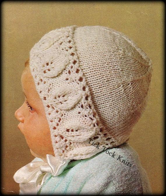 No348 Baby Bonnet Knitting Pattern Pdf Vintage Leaf Lace