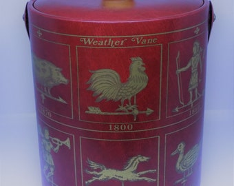 A Vintage Retro 1960s Red Faux Leather Ice Bucket with Weather Vane Detailing by George Briard Made in USA - Bar Ware  Kitchenalia  Mantique