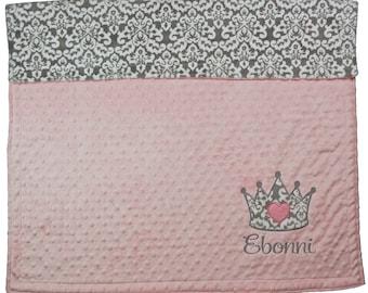 Baby Girl Personalized Minky Blanket, Princess Crown Applique Personalized Minky Blanket, Pink and Gray Custom Blanket