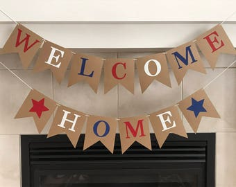 Welcome Red White Blue, Home Banner, Military, Homecoming Banner, Welcome Home Sign, Deployment Homecoming Banner, New Home, Housewarming