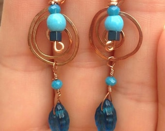 Copper Wire Earrings with Vintage Beads