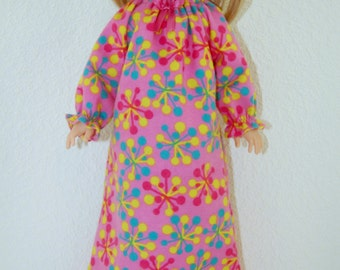 "Nightgown for 14"" Wellie Wishers or Melissa & Doug Doll Clothes pink-blue-yellow tkct1028 READY TO SHIP"