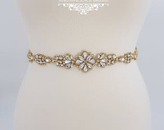 Gold bridal belt, gold wedding belt, gold bridal sash, thin gold belt, gold wedding sash, bridal belt, bridal sash, all around belt, BRENDA