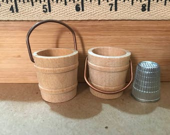 AH    miniature  set of 2 wooden buckets unfinished