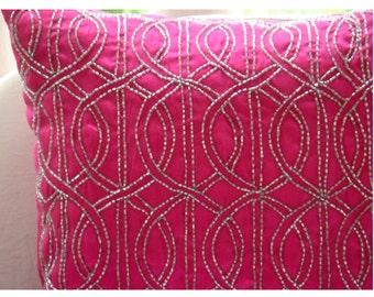 "Handmade  Lattice Trellis Pillows Cover, Fuchsia Pink Decorative Pillows Cover Silk Pillowcase, Square  20""x20"" - Fuchsia N Silver"