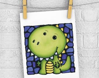 Green Dinosaur 5 x 7 Print - Discontinued - 50% OFF - Nursery Art Print - Baby Room Wall Hanging - Cute Dino Print - Boy Room Art