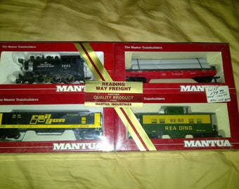 NEW Ho Train Set Reading Way Freight 060 tank switcher 2 cars and caboose sealed box from Mantua