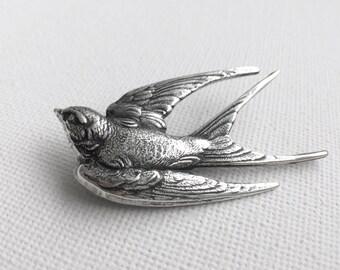 Bird Brooch, Silver Bird Brooch, Bird Sweater Pin, Coat Pin, Winter Pin, Hat Pin, Brooches, Swallow Brooch, Silver Coat Pin, Mom GIfts
