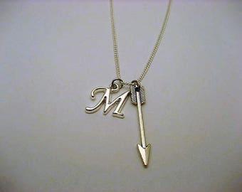 Silver Arrow Necklace, Personalized Archery Necklace, Initial Necklace, Letter Necklace, Arrow Jewelry, Archery Jewelry