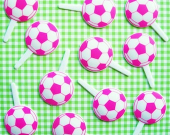 12 Pink and White Soccer Cupcake Picks