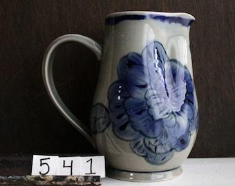 Floral Celadon Pitcher / Blue Celadon Vase / Large Floral Pouring Vessel / Magnolia Blossom Pitcher / Handmade Carafe / Water Pitcher / #541