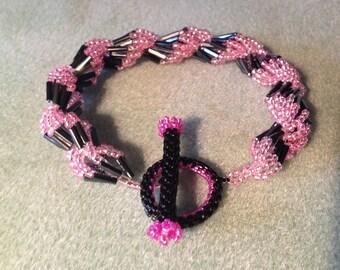 Pink & Black Spiral Shell Bracelet