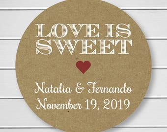 Love is Sweet Wedding or Engagement Stickers, White Ink Wedding Stickers, White Ink Engagement Stickers (#002-KR-WT-B)