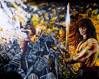 Conan the barbarian acrylic, pastel pencil on paper
