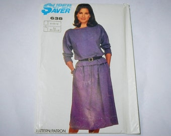 Simplicity Super Saver Vintage Printed Pattern 638 Skirt and Top Size K   8, 10, 12   1985