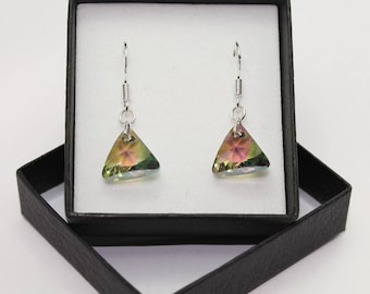 Sterling Silver Triangle style ear hook drop earrings made with Swarovski® Crystals - Paradise Shine - more colours are available