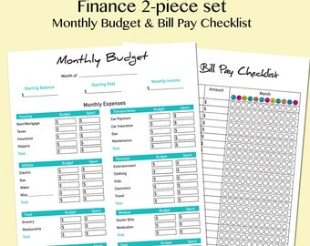 Finance 2 pc set • Monthly budget • Bill pay checklist