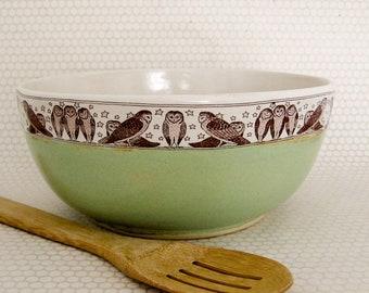 Large Ceramic Bowl  - Mixing Bowl - Owl - 64 oz - Ready to Ship - Hand Thrown Stoneware Bowl
