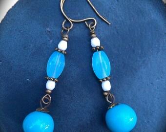 Sky Blue Earrings handmade feminine long blue and white glass jewelry gift for women